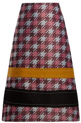 Marni Striped Houndstooth Jacquard Midi Skirt - Womens - Pink Multi