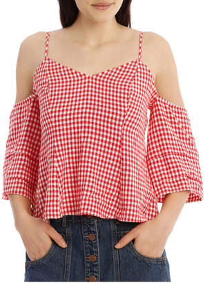Miss Shop Gingham Off The Shoulder Top