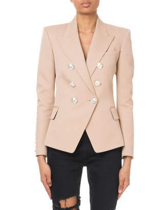 Balmain Double-Breasted Silver-Button Classic Blazer