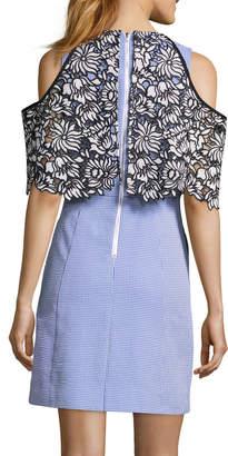 Nicole Miller New York Cold-Shoulder Lace Popover Dress