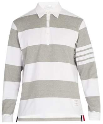 Thom Browne Striped Cotton Polo Shirt - Mens - White Multi