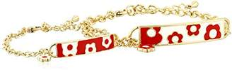 Little Miss Twin Stars Identity Crisis 14k Gold-Plated Chain Bracelet with Enamel Name Plate and White Flowers: Mommy and Me Set