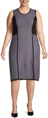 Calvin Klein Collection Plus Striped Sleeveless Knee-Length Dress