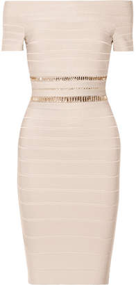 Herve Leger Marina Off-the-shoulder Crystal-embellished Bandage Dress - Beige