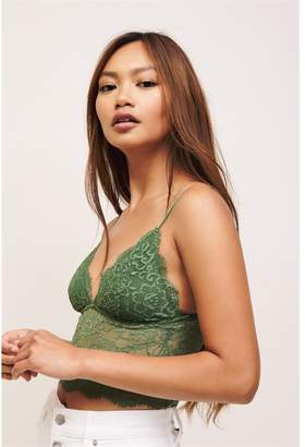 Dynamite Scalloped Lace Bralette - FINAL SALE Elm Green