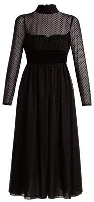 Valentino Polka Dot Fil Coupe Silk Blend Gown - Womens - Black