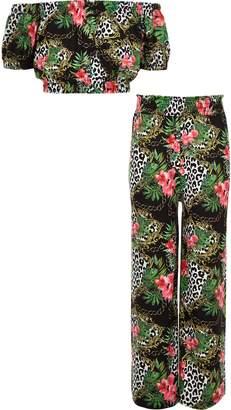 River Island Girls Green chain print bardot top outfit