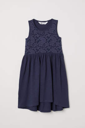 H&M Jersey Dress with Lace - Blue
