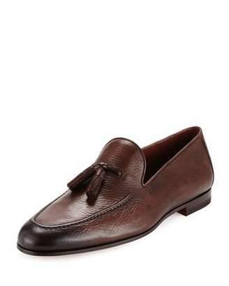 Magnanni Pebbled Leather Tassel Loafer, Brown