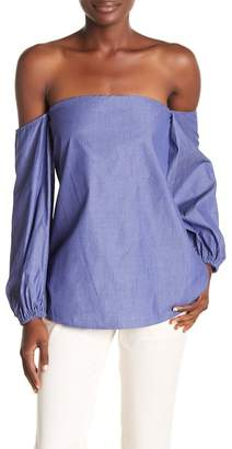 Theory Laureema Amherst Striped Off-the-Shoulder Top