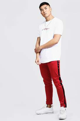MAN Curve Hem T-Shirt & Tricot Jogger Set With Tape