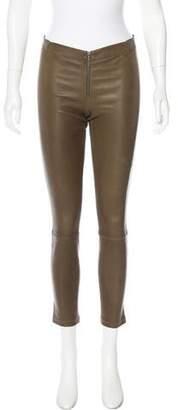 Alice + Olivia Leather Zip-Up Leggings