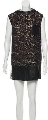 3.1 Phillip Lim Leather-Trimmed Lace Dress Black Leather-Trimmed Lace Dress