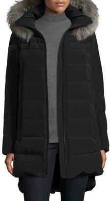 Derek Lam Long Fur-Trimmed Hooded Puffer Coat, Black $695 thestylecure.com
