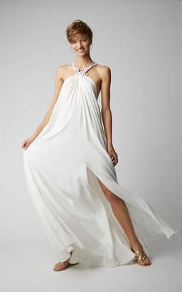 MY BEACHY SIDE Crochet-Detailed Juvanese Halter Maxi Dress