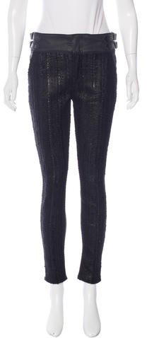 7 For All Mankind7 for all Mankind Bouclé-Paneled Skinny Pants w/ Tags