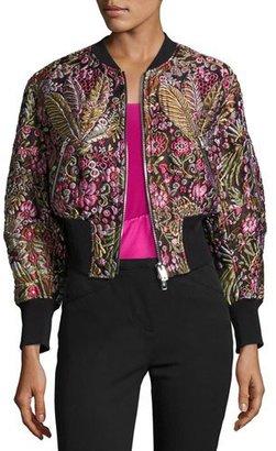 3.1 Phillip Lim Floral Jacquard Cloqué Bomber Jacket, Multicolor $850 thestylecure.com