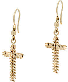 Imperial Gold Wheat Cross Earrings, 14KGold