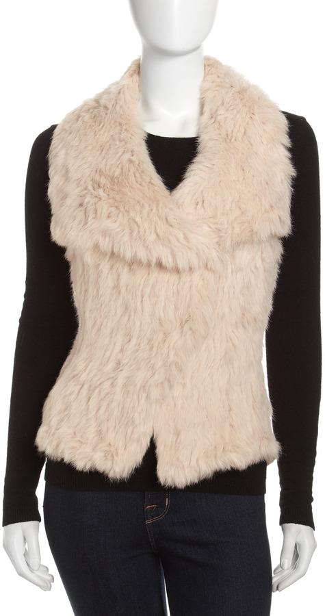 Neiman Marcus Rabbit Fur/Mesh Vest, Buff