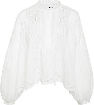 Isabel Marant Maly Ruffled Broderie Anglaise Ramie Blouse