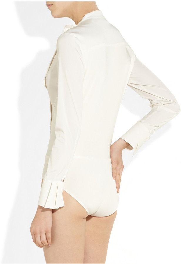 Donna Karan Silk-blend and stretch-jersey bodysuit