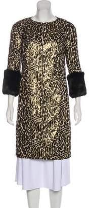Tory Burch Fur-Trimmed Knee-Length Coat