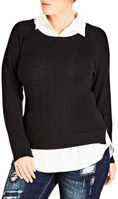 City Chic Woven Trim Cable Knit Sweater