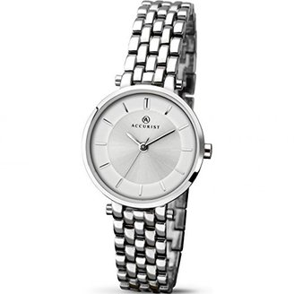 Accurist Ladies Analogue Watch with Silver Dial andシルバーブレスレット8006