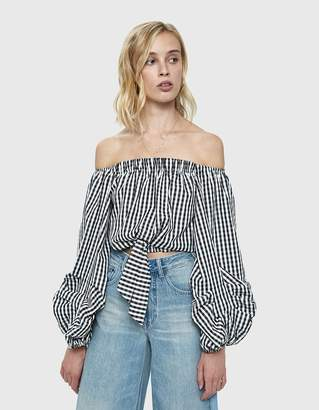 Farrow Linh Gingham Cropped Blouse