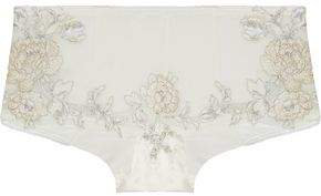 La Perla Peony Embroidered Mesh And Stretch-Jersey Mid-Rise Briefs