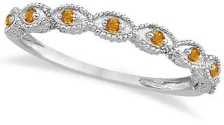Allurez Antique Style Filigree Marquise Shape Citrine Wedding Ring Platinum 0.18ct