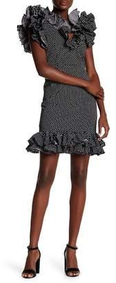 Tea & Cup Polk-A-Dot Ruffle Off The Shoulder Dress