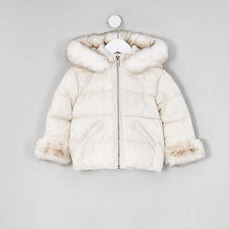 River Island Mini girls white faux fur padded coat