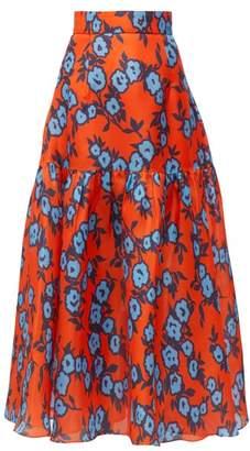 Carolina Herrera Floral Print Gathered Silk Gazar Mid Skirt - Womens - Orange Multi