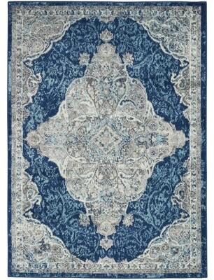 Bungalow Rose Michelson Persian Medallion Ivory/Turquoise Blue Area Rug