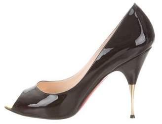 Christian Louboutin Patent Leather Peep-Toe Pumps