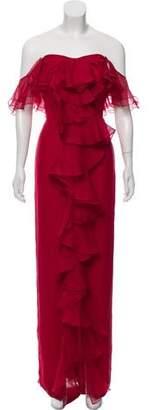 Marchesa Silk Cold-Shoulder Dress