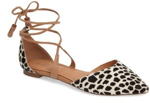 Women's Halogen Oliver Genuine Calf Hair Ankle Wrap Flat $89.95 thestylecure.com