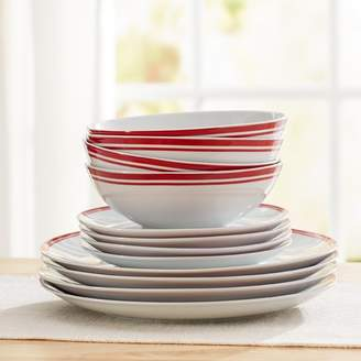 Wayfair Basics Wayfair Basics 12 Piece Striped Porcelain Dinnerware Set, Service for 4