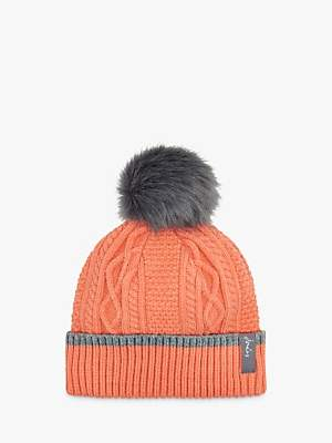 Joules Anya Bobble Cable Knit Pom Pom Beanie Hat