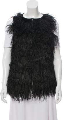 Tory Burch Ostrich Feather Silk-Trimmed Vest