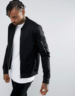 Asos Muscle Fit Bomber Jacket With Sleeve Zip in Black