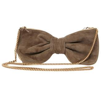 Alexis Mabille Beige Suede Clutch Bag
