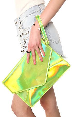 Melie Bianco The Janelle Clutch in Hologram Lime
