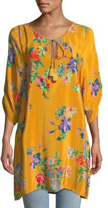 Tolani 3/4-Sleeve Floral-Print Silk Long Tunic