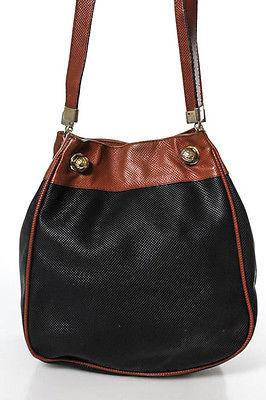 Bottega VenetaBottega Veneta Black Brown Leather Double Strap Shoulder Handbag Vintage