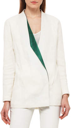 Akris Linen Jacket w/Satin Lapel, White/Green