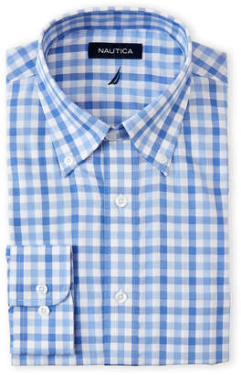 Nautica Blue Button-Down Check Stretch Classic Fit Dress Shirt