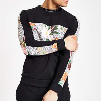River Island Black slim fit floral blocked sweatshirt
