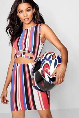 boohoo Stripe Cut Out Detail Mini Dress